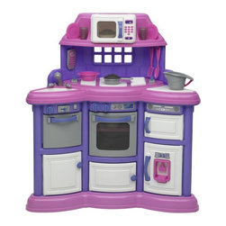 """American Plastic Toys - American Plastic Toys Playtime Kitchen - 11910 - Shop for Cooking and Housekeeping from Hayneedle.com! Talk about a well-designed kitchen! The American Plastic Toys Playtime Kitchen puts everything little chefs need right at their fingertips in this compact yet fully loaded toy. In a fun combination of pink purple white and grey this kitchen features a microwave an oven a fridge and freezer a dishwasher and two cupboards for all the cooking and storage kids can dream up. All seven doors are reinforced and there are plenty of knobs and levers to turn and slide for more realistic play. The sink has a removable sprayer-faucet and kids can look out the """"window"""" or chat on the phone while they do the dishes. This kitchen includes a 22-piece accessory kit with pots pans plates utensils and more. Assembly required. Overall dimensions: 33L x 12W x 38H inches. The 22 play accessories are perfectly sized for children ages 3 and up and are just right for your tot. Includes pots pans lids bakeware plates cups utensils and the all important play phone! More importantly they're perfect for you. No more discussions over where your little ones can be while you're preparing a meal. With your child's very own American Plastic Toys Custom Kitchen your child can """"help"""" cook dinner away from the heat and chaos. A wonderful idea if we may say so ourselves! The color scheme of this kitchen is inviting to little girls and their friends with nice pops of pink purple and white and designed to create a one-of-a-kind experience for child and parent. As you watch your child enter the world of culinary exuberance you can't help but reminisce about your grandmother's homemade cookies. Such a treat! About American Plastic ToysSince 1962 American Plastic Toys has proudly manufactured safe toys in the United States. The company's product line includes more than 125 different items ranging from sand pails and sleds to wagons and play kitchens. American Plastic Toys manufacture"""