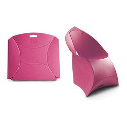 Flux Furniture - Flux Junior, Rosy Pink - Award-winning Dutch design - for kids, looks like a giant envelope; turns into a designer chair. Simple. One craftily cut sheet of sustainable polypropylene and a variety of modern colours to choose from; zero tools necessary.