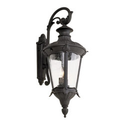 Joshua Marshal - Two Light Black Clear Seeded 4 Window Frame Glass Wall Lantern - Two Light Black Clear Seeded 4 Window Frame Glass Wall Lantern