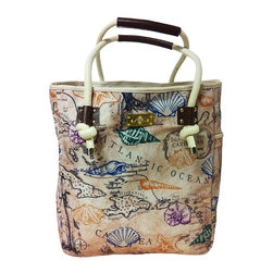 Frontgate - Coastal Map Tote Bag - Wide, open top with a snap closure for easy access. Thick, rope-style cotton handles with gold-plated hardware. Faux leather accents on the handles and openings. Easy-clean interior free of a liner. Gold metal feet protect bag from damp surfaces. Printed with a vintage map and brightly colored seashells, just the sight of our Coastal Map Tote Bag might entice you to grab the essentials and find your getaway. This artisan-designed beach carry-all is made from rugged, high-quality cotton canvas and amply sized, with a large main compartment. Quickly stash sunglasses or a water bottle in the two spacious exterior side pockets, and tuck away keys and other small valuables in the interior zipped pocket.  .  .  .  .  . Imported.
