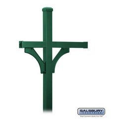 Salsbury Industries - Deluxe Mailbox Post - 2 Sided for (3) Mailboxes - In-Ground Mounted - Green - Deluxe Mailbox Post - 2 Sided for (3) Mailboxes - In-Ground Mounted - Green