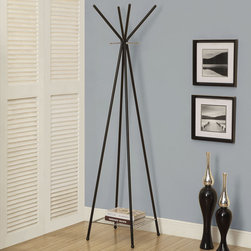 Monarch - Black/Chrome Metal 70in.H Coat Rack - Your home will be a better place with this functional and fashionable black and chrome coat rack. Featuring a chrome metal magazine rack at the bottom as well as ample hanging hooks for your coats, scarves, and even your umbrella will now have a beautiful home.