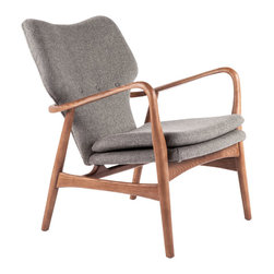 #N/A - Carlo Chair - Carlo Chair. Wool upholestry, solid ash wood in walnut lounge chair