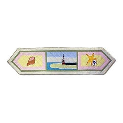 Patch Magic - Ocean View Table Runner - 16 in. W x 72 in. LHandmade, Hand quilted Table Runner made from 100% Cotton. Machine washable, but for best care hand wash in cold water. Do not machine dry. Do not dry clean.