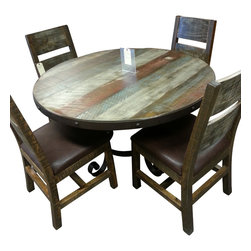 Antique Multi Color Pine 5pc Dining Set - Truck company will bring this set into your home ('Threshold Service')