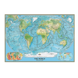 Magic Murals - Physical World Map Wall Mural  -- Self-Adhesive Wallpaper in Various Sizes by Ma - National Geographic Physical Map of the World. Artwork. National Geographic Collection.