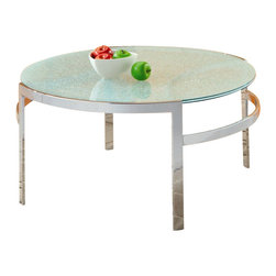 Homelegance - Homelegance Sangster Glass Top Round Cocktail Table with Chrome Framing - Homelegance - Coffee Tables - 330301 - Ultra modern and ultra contemporary the crackle glass tabletops of the Sangster Collection are cradled by chrome circular framing.