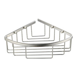 "Fresca - Fresca Single Corner Wire Basket - Brushed Nickel - Dimensions:  8""W x 8""D x 3""H. Heavy Duty Brass with Triple Brushed Nickel Finish.   All of our Fresca bathroom accessories are made with brass with a triple brushed nickel finish and have been chosen to compliment our other line of products including our vanities, faucets, shower panels and toilets.  They are imported and selected for their modern, cutting edge designs."