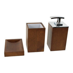 Gedy - Wooden 3 Piece Brown Bathroom Accessory Set - Trendy brown bathroom accessory set made from wood.