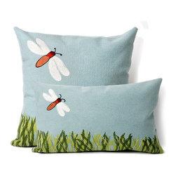 Dragonfly Aqua Outdoor Pillow - Dragonfly Aqua outdoor pillow design.