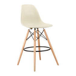 Barstool Slope Chair in Cream - Take iconic mid-century modern design to new heights. Inspired by the classic design aesthetic of our Mid-Century Slope Chair, the Barstool Slope Chair offers stylish modern seating for your counter-height needs. The chair features a smooth polypropylene seat and natural wood dowel legs. We see this chair fitting in at the kitchen island, providing a comfortable seat for late night stacks or kitchen chatter. Available in a variety of vibrant colors, the chair will spruce up your décor without overpowering the room.