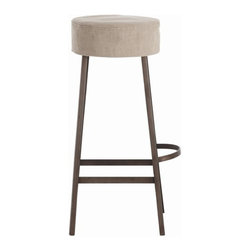 Arteriors Home - Arteriors Home Rochefort Barstool - Arteriors Home DR6010 - Get a leg up with this distinctive, rough and tumble meets soft and pliable, barstool. The cushy, overstuffed seat softens the iron frame. And the removable linen slipcover allows kids and adults to be themselves. A loop of iron provides a handy footrest and a cool architectural touch.
