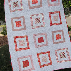 Orange Modern Quilt, Owls by 2Peeps