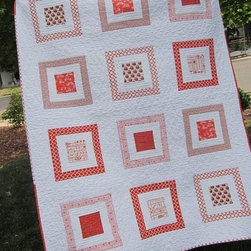 Orange Modern Quilt, Owls by 2Peeps - If I can play favorites, this one might be it. This pattern is orderly and I love the monochromatic palette in such a fresh grapefruit orange color. It would look great framed and hung on a wall.