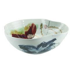 John Richard - John Richard Curled Rim Large Bowl JRA-9020 - A curled rim large porcelain bowl gazed in ox blood and green .