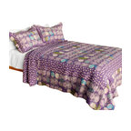 Blancho Bedding - Parfait-Amour 3PC Vermicelli-Quilted Polka Dot Patchwork Quilt Set Full/Queen - Set includes a quilt and two quilted shams (one in twin set). Shell and fill are 100% cotton. For convenience, all bedding components are machine washable on cold in the gentle cycle and can be dried on low heat and will last you years. Intricate vermicelli quilting provides a rich surface texture. This vermicelli-quilted quilt set will refresh your bedroom decor instantly, create a cozy and inviting atmosphere and is sure to transform the look of your bedroom or guest room. Dimensions: Full/Queen quilt: 90 inches x 98 inches  Standard sham: 20 inches x 26 inches.