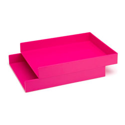 Poppin - Letter Trays, Set Of 2, Pink - Get shelter from incoming clutter bombs with this set of two stackable boxes. Each measures 12 1/2 by 9 3/4 by 1 3/4 inches, is finished in your choice of eye-popping colors in a lacquer-like finish and coordinates with other accessories in the same line. Stack up some tidy style points.