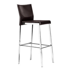 """Zuo - Zuo Boxter Espresso 29"""" High Bar Stool - The Boxter Zuo bar stool offers an ultra-stylish seating option. The angular design is attractive in its simplicity. The seat and back are regenerated leather in rich smooth espresso. The frame features solid steel construction and a brilliant chrome finish. This barstool excels in both form and function and is perfect for a bar counter kitchen areas and more. Espresso regenerated leather. Steel frame. Chrome finish. 29"""" seat height. 17"""" wide. 40"""" high. 15 1/2"""" deep.  Espresso regenerated leather.   Steel frame.   Chrome finish.   29"""" seat height.   17"""" wide.   40"""" high.   15 1/2"""" deep."""