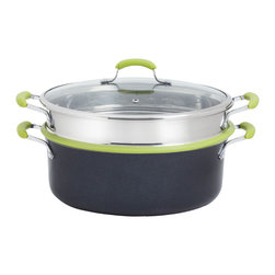 T-Fal - T-Fal Balanced Living Non-stick 7-quart Dutch Oven - This Balanced Living 7-quart Oval Dutch oven with Steamer, with its large capacity can cook or steam a variety of foods. This 7-quart Dutch Oven is dishwasher safe.