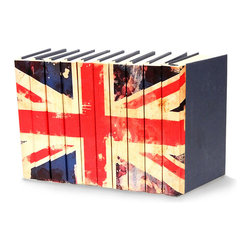 Image Collection Books  - Union Jack Flag - Set of 10 - Flashy and urban with a richly distressed look, the Union Jack Flag Image Collection of books brings British flair to your home.  Used traditionally on a bookshelf or stacked on a windowsill, they provide a creative and inspiring touch to the space, and the nearly universal appeal of the geometric design and strong colors makes an artful addition to your look.