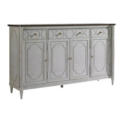 Stanley Furniture - Charleston Regency-East Battery Buffet - Celebrated Low country rice post carving and astragal moulding detail are highlights of the East Battery Buffet in Classic Mahogany. The design features four doors, three drawers, three adjustable shelves and one blue silver liner in the center drawer.