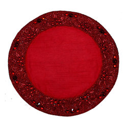Beaded Placemat Red - Bring beaded beauty to your table with this hand-embellished round placemat. Add a little glimmer to each setting when you lay out these gorgeous mats.