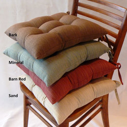 None - Madison Square Chair Pads (Set of 4) - These ribbed solid chair pads feature full-length ties on each corner to help keep it firmly in place. These chair cushions are designed to add comfort and color to any sitting area while they protect your furniture from scratches and other damages.