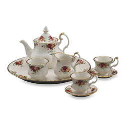 Royal Albert Le Petite 9-Piece Mini Tea Set, Old Country Roses - No Downton-approved dining room is complete without a proper tea set.