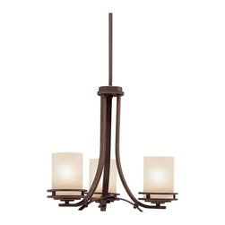 KICHLER - KICHLER Hendrik Transitional Chandelette (Mini Chandelier) X-ZO1761 - Add wonderfully distinctive home lighting to your home with this bronze chandelette. The Kichler Lighting Hendrik Transitional chandelette adds extra lighting to the room with its light umber etched glass shades. The olde bronze finish gives the chandelier a classic look with an ageless appeal.