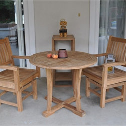 """Anderson - 2 Chicago Chairs & 35"""" Round Dining Table w/Curved Legs - Very gorgeous dining set that shine your outdoor living.  It comes with 35"""" round dining table and 2 Chicago dining chairs.  Accessories and shelves are not included. The Table comes with 2 pieces half moon table that need to be put together and have a big umbrella hole (umbrella plug does not come with it but we can close it with round teak wood upon requested). The curve of the table legs are curve on the outside and straight on the inside."""