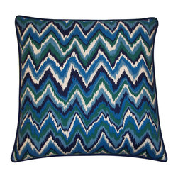 Teal & Navy Chevron Pillow - Great chevron pattern with cool hues. Cotton and linen fabric with a down-blend insert. Made in the USA.