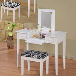 "Asia Direct - 2-Piece White Finish Wood Bedroom Make Up Vanity Dressing Table - 2-piece white finish wood bedroom make up vanity dressing table with flip up mirror and stool with zebra print material. This set includes the vanity table with flip up mirror and fold down front panel with 2 side drawers and a zebra print fabric covered stool. Measures 36"" x 18"" x 30"" H (47"" with mirror flipped up). Stool measures 18"" x 12"" x 18"" H. Some assembly required."