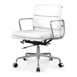 Meelano - M342 Eames Style Soft Pad Office Chair In White Leather - Based on a true Mid-Century classic, you'll look and feel like the person in charge. Crafted with the softest and thickest padded seat, it comes with strong arms and a swiveling, rolling base. And don't forget its cool pneumatic lift.