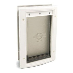 PetSafe Plastic Storm Door Dog Door - This PetSafe Plastic Storm Door Dog Door will allow your pet to go in and out freely. It's made of a solid plastic construction and is easily installable on any door. This doggie door will keep your home insulated as its soft transparent single flap has a weather-tight seal. If you are looking for a quality affordable pet door the PetSafe Plastic Dog Door is for you. Available in a variety of sizes. See below for dimensions.SmallOverall dimensions: 7.625W x 1.875D x 11.125H inches Flap dimensions: 5.125W x 7.625H inchesHole dimensions: 5.25W x 8.75H inchesSuggested pet weight: 15 lbs.MediumOverall dimensions: 10.625W x 15.125H inchesFlap dimensions: 8.125W x 11.75H inchesHole dimensions: 9.625W x 14.187H inchesSuggested pet weight: 40 lbs.LargeOverall dimensions: 12.625W x 2.25D x 20H inchesFlap dimensions: 10.125W x 15.75H inchesHole dimensions: 11.625W x 19.25H inchesSuggested pet weight: 100 lbs.Extra LargeOverall dimensions: 16.125W x 2.25D x 27.5H inchesFlap dimensions: 13.625W x 23H inchesHole dimensions: 15.125W x 26.8125H inchesSuggested pet weight: 220 lbs.Note: Look for the template included with your pet door and be sure to use it. Consider your pet's weight and size and position the template accordingly. This will ensure a correct installation the first time. About PetSafePetSafe products provide convenience and freedom to pets and their owners alike. Headquartered in Knoxville Tenn. PetSafe introduced the first do-it-yourself electronic fence to the pet market in 1991 and has since become a global presence. PetSafe offers a wide array of training containment safety and lifestyle products. The human-animal bond has become increasingly important in today's society and PetSafe helps people become the responsible caring owners they want to be. PetSafe emphasizes ground-breaking research in its products to provide cutting-edge innovative solutions to your pet's needs. Employees love the products as well - the company headquarters boasts everything from a doggie spa to a kitty gym and President/CEO Randy Boyd uses many PetSafe products to keep his dog Spanky healthy and happy.