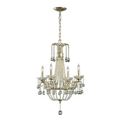 "Kathy Kuo Home - Genevieve 4 Light Crystal Ball Mini Chandelier - A friend once said ""pretty is always in style"" and this lovely chandelier, dripping in delicate beading and small crystal balls certainly proves this point.  Perfect for French Country inspired spaces, the contrast between the distressed champagne leaf finish and the glistening crystals on this chandelier creates a beautiful antique effect. Four candelabra bulbs cast an elegant light upon whatever room you choose."