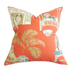 The Pillow Collection - Zuzela Animal Print Pillow - Redecorate your home with this casual decor pillow. This bold-looking throw pillow features a unique animal detail printed on a red background. Great for indoor use, this throw pillow is perfect for your sofa, bench or bed. Mix and match with other fun patterns and solids for an unconventional decor theme. Hidden zipper closure for easy cover removal.  Knife edge finish on all four sides.  Reversible pillow with the same fabric on the back side.  Spot cleaning suggested.