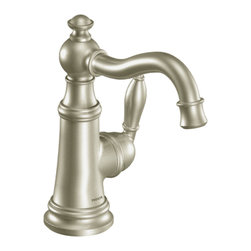 Moen - Moen S42107BN Single Handle High Arc Bathroom Faucet - The elegant, traditional design details and distinctive finishing touches present a sens of unique luxury in the Weymouth collection. Beautiful accents include porcelain inlays that feature Euro-influenced decorative script and signature styling elements.