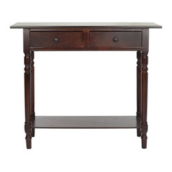 Safavieh - Safavieh Rosemary Console X-D5075HMA - The Rosemary console, in dark walnut finish, evokes Craftsman style with its clean lines and practical storage. Crafted from pine with two drawers and a bottom shelf, this console will enhance an casual rooms, front entry or hallway with its charm. Minor