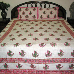 Black Prinred Bedspreads - Block printed bedspreads create warm and classic look to any room.