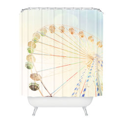 DENY Designs - Happee Monkee Ferris Wheel Shower Curtain - Who says bathrooms can't be fun? To get the most bang for your buck, start with an artistic, inventive shower curtain. We've got endless options that will really make your bathroom pop. Heck, your guests may start spending a little extra time in there because of it!