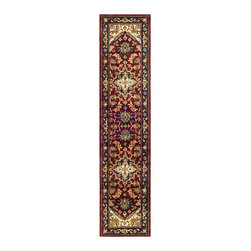 Safavieh - Handmade Heritage Heriz Red/ Navy Wool Runner (2'3 x 8') - Updates any office, bedroom, den, or living roomHnad-tufted area rug made with 100-percent wool pileRug features traditional Heriz medallion design