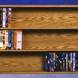 Wood Shed - Solid Oak Wall Mount Media Storage (Honey Oak - Finish: Honey OakCapacity: Varies depending on use. Made from solid oak. Honey oak finish. 52 in. W x 5.5 in. D x 26.75 in. H