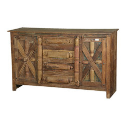 Sierra Living Concepts - Rustic Reclaimed Wood Rolling Pin Storage Buffet Sideboard Cabinet - Our playful Rustic Rolling Pin Kitchen Buffet will keep you organized. This solid hardwood cabinet has actual rolling pins embedded into the front as part of an innovative and whimsical design.