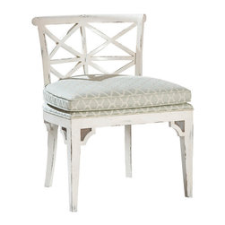 """Kathy Kuo Home - Orleans French Cottage Distressed White Dining Chair - At the table, at the vanity or at the ready for occasional seating, this chair will show off your joie du style. A grid of X's on the low back, corner bracing on the legs and the cushion upholstered in a misty trellis pattern all add up to detail and quality that'll make you say, """"Oui!"""""""