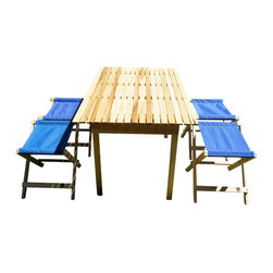 "Shark Shade LLC - Shark Shade Folding Table and 4 Stools - Folding Table 30"" x 48"" x 32""  and four folding Stools.  Hand Made in USA of American Hardwood Easy to fold for travel and storage. Use at the campground, Beach. Patio, or an extra table for Thanks Giving dinner.When you really need save on space but want comfort to lounge around a campfire, tailgate parties, soccer games, camping trips, and good times with friends and family. This lightweight folding stool is portable enough to accompany you anywhere, yet is also attractive enough to become a fixture on your cabin porch. Built with American hardwood and constructed with industrial materials to last through the years of outings."