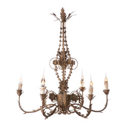 Kathy Kuo Home - Santa Maria Spanish Revival Aged Gold 6 Light Chandelier - The Santa Maria Chandelier in Aged Gold is an ode to traditional Spanish decor. This hard wired chandelier is sure to add an element of eclecticism to any room.