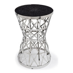 Kathy Kuo Home - Mercado Modern Global Bazaar Drum Basket Black Mosaic Nickel Side Table - A woven antique nickel base with an hourglass silhouette gracefully grounds the polished amber mosaic tabletop. The complementary colors create a rich palette and an artistic presence, perfect beside a sofa, as a bedside table or an eye-catching accent.