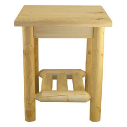 Lakeland Mills - Lakeland Mills Murray Hill Log Nightstand - GL100-NATURAL - Shop for Nightstands from Hayneedle.com! Accentuate your bedroom in authentic rustic style with the Murray Hill Log Nightstand. Straight lines and a simple design make this handy nightstand a wonderful addition to any bedroom.Hand-made from quality pine logs the nightstand has a truly rugged look. It is normal to have some cracks in the log pieces. Known as checks these cracks occur when the logs dry and the cells shrink proof that the pine is solid. Checking is absolutely safe and helps enhance the rustic beauty.A great way to keep your alarm clock reading lamp and books within easy reach the Murray Hill Log Nightstand also provides years of use.About Lakeland MillsFounded in 1923 Lakeland Mills has grown into the nation's favorite provider of quality rustic furniture thanks to its dedicated long-term employees many of whom are second- and third-generation. Consistent quality and local pride mean high craftsmanship at the lowest possible cost. The new 113 000-square-foot plant is centrally located in Edmore Mich. for fast efficient delivery.
