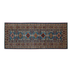 1800 Get A Rug - Teal Tribal Super Kazak 100% Wool Hand Knotted Oriental Rug Runner Sh15245 - Our Tribal & Geometric Collection consists of classic rugs woven with geometric patterns based on traditional tribal motifs. You will find Kazak rugs and flat-woven Kilims with centuries-old classic Turkish, Persian, Caucasian and Armenian patterns. The collection also includes the antique, finely-woven Serapi Heriz, the Mamluk Afghan, and the traditional village Persian rug.