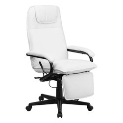 Flash Furniture - High Back White Leather Executive Reclining Office Chair - Go from sitting to a Reclined and Relaxed position in seconds with this Reclining High Back Executive Office Chair! Now you can have the best of both worlds with this dual designed office chair that offers you the comfort of a recliner in an office chair. This office chair offers you the standard pneumatic seat height adjustment with the added bonus of a reclining back and easy touch adjustable footrest.